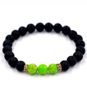 Lava Stone & Jasper Beaded Stretch Chakra Bracelet
